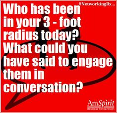 #NetworkingRx: How might you strike up a conversation with a complete stranger?