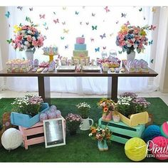 Borboletas Butterfly Garden Party, Butterfly Birthday Party, Butterfly Baby Shower, Garden Birthday, Twin Birthday, First Birthday Parties, Fairytale Party, Girls Party Decorations, Ideas Para Fiestas