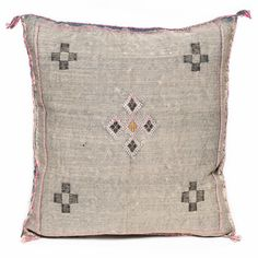 vintage Moroccan cactus silk pillow with embroidery