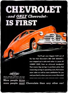 """Only Chevrolet is first!""  These striking ads for Chevrolet cars are from 1948."