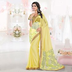 Buy Yellow Party Wear Chiffon Saree online India, Best Prices, Reviews - Peachmode
