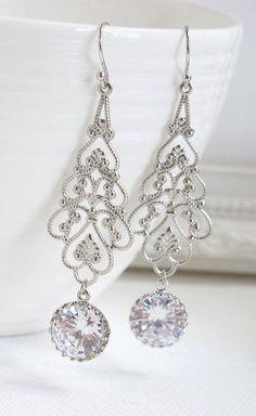 Long Dangle Chandelier Earrings. Silver Victorian