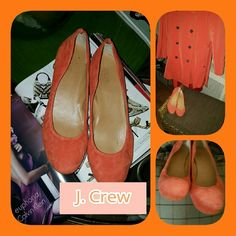 J. Crew Orange,suede ballet flats 10 Fabulous Suede Shoes that show various minor signs of wear. This is the color of the season. They are comfy but I have quite a few other pairs of flats and these have to go. True to size. Price firm unless bundled. J. Crew Shoes Flats & Loafers