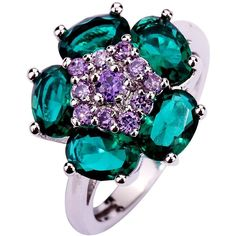 Yazilind Women's Ring with Green Topaz Tourmaline Gemstones Silver US... ❤ liked on Polyvore featuring jewelry, rings, tourmaline ring, wedding rings, silver jewelry, tourmaline wedding ring and silver wedding rings