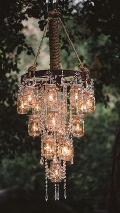 DIY chandelier with mason jars & repurposed cristals