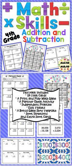 Grade Addition and Subtraction - Grade Math Activities Pack 4th Grade Multiplication, 4th Grade Math Games, Multiplication Activities, Math Activities, Fourth Grade, Teaching Addition, Addition Activities, Math Addition, Addition And Subtraction