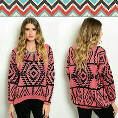 """Rose Black Sweater This knit top features tribal print all over, long sleeves and ribbed trim.  Fabric Content: 100% ACRYLIC Description: L: 25"""" B: 26"""" W: 21"""" Sweaters"""
