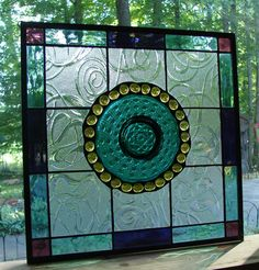 vintage Imperial Lace stained glass panel by Barbarasstainedglass