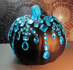DIY: Turquoise Jewels & a Black Pumpkin.  Nice.