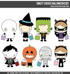 Sweet Cheeks Halloween Kids Digital Clipart Clip Art Illustrations - instant download - limited commercial use ok