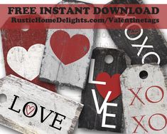 Valentine's Day Gift Tags - FREE Instant Download! RusticHomeDelights.com/Valentinetags