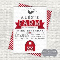 Printable Farm Birthday Party Invitation Front by HankandPetunia, $12.00