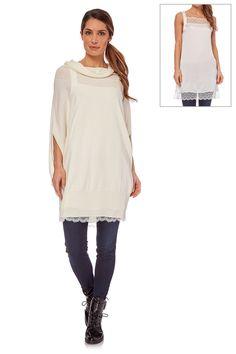 Vendita Twin Set / 21403 / Lavorazione a maglia / Pullover / Maxi-Maglia in Seta e Sottoveste Bianco