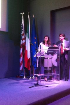 """""""The Making of (a New) Rome"""" exhibition at the Istituto Italiano Di Cultura Los Angeles (January 2014). Panel discussion.  In the photo: Arabella Rocca, partner at Alvisi Kirimoto + Partners, with Massimo Sarti, director at the Istituto Italiano Di Cultura Los Angeles."""