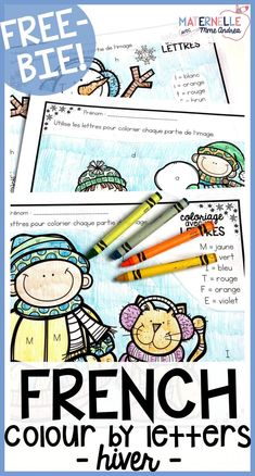 FREE French colour by letter winter worksheets. Help your students practice differentiating between similar letters using these fun colouring sheets, en fran& Kindergarten Writing, Kindergarten Classroom, Kindergarten Activities, Winter Activities, French Kids, Free In French, Teaching The Alphabet, Alphabet Activities, Spanish Activities