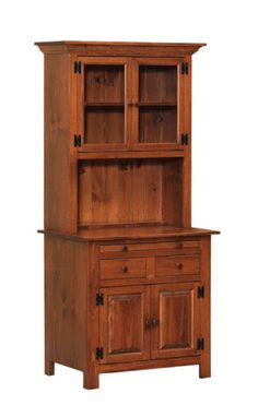 Best Amish Unfinished Solid Pine Hutch China Cabinet With Glass 400 x 300