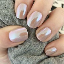 20x Hand Painted Nude Mirror Chrome Gel Petite False Nails