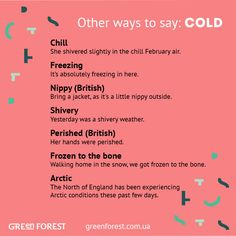 Synonyms to the word COLD Other ways to say COLD