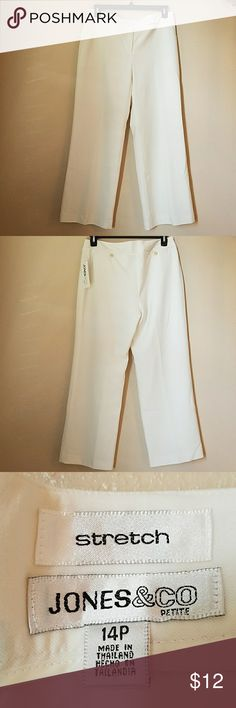 Jones  & CO white pants JONES & CO white, stretch pants with inner lining  Color: winter white Measurements unstretched  Waist 17 inches across  Rise 10 inches  Hips 21 inches across  Inseam 29 inches JONES & CO Pants Boot Cut & Flare
