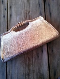 Vintage 1950s Handbag Gold Metallic Clutch Leather Handbag 50s Purse 201643 - pinned by pin4etsy.com