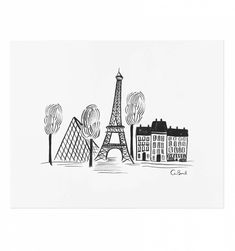 Paris Sketch Illustrated Art Print - Rifle Paper Co. - for mom