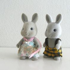 Vintage Sylvanian Families 1980s Flocked Rabbit Animal by ismoyo | Always interested in diversity, we had a sylvanian family that had a bear dad and a rabbit mom.