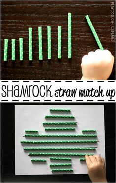 Simple and fun measurement activity for preschoolers and kindergarteners! Shamrock straw match up. {Playdough to Plato}