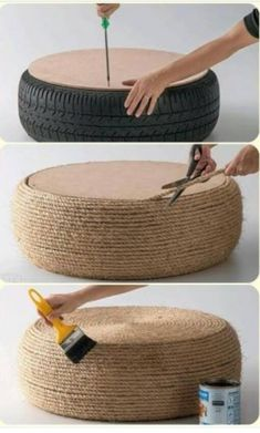 seating Repurpose old tires! Add a cushion for outdoor seating, or leave the top off and fill with flowers (Diy Art Decor)Repurpose old tires! Add a cushion for outdoor seating, or leave the top off and fill with flowers (Diy Art Decor) Diy Divan, Garden Furniture Design, Furniture Ideas, Wooden Furniture, Antique Furniture, Diy Outdoor Furniture, Steel Furniture, Recycled Furniture, Diy Exterior Furniture