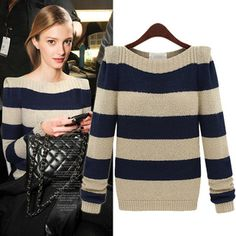 European Winter Fashion Stripe Round Collar Sweater