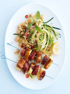 chorizo and haloumi skewers with chickpea salad By Donna Hay