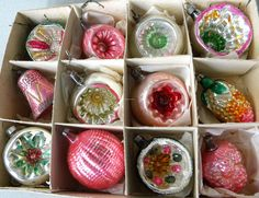 """12 Old Pink Green Silver Mercury Glass Bell Indent 2"""" Ornaments Germany Box 3"""