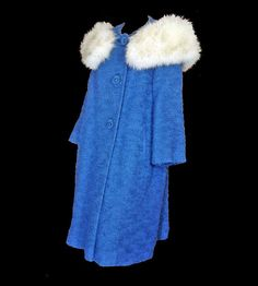 Vintage 1960's Coat Blue Wool Coat Real White Fox Fur Collar by susiesboutiquecloths on Etsy https://www.etsy.com/listing/215570160/vintage-1960s-coat-blue-wool-coat-real