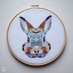 Geometric Bunny Counted Modern Cross Stitch by VelvetPonyDesign