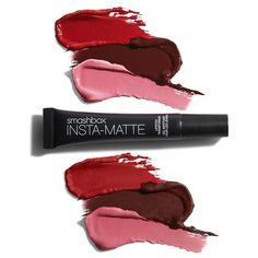Top swatches: sheen-y cream lipsticks BEFORE Insta-Matte Lipstick Transformer.  Bottom swatches: same lipsticks now mattified AFTER Insta-Matte. Instantly turn cream shades matte by tapping the gel-like product onto lips.  #BeLegendary Lipstick shades: Red Rage Witchy Panorama Pink by smashboxcosmetics