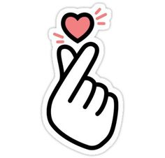 Korean Heart Fingers Shirt Finger Heart Sign Sticker