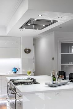 Ceiling and casette The alternative to traditional - Kitchen - Best Kitchen Decor! Kitchen Island Hood Ideas, Kitchen Island With Cooktop, Kitchen Vent Hood, Island Cooktop, Modern Kitchen Island, Rolling Kitchen Island, Kitchen Island Ventilation, Kitchen Islands, Stove In Island