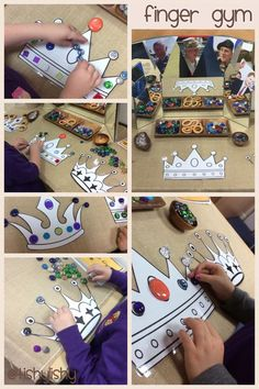 When I returned to I decided I wanted a permanent area for fun, fine motor control activities. I looked on line for ideas and set one up. As you scroll through the photos you'll see how i… Eyfs Activities, Birthday Activities, Motor Activities, Reggio Emilia, Castles Topic, British Values, Queen 90th Birthday, Finger Gym, Funky Fingers
