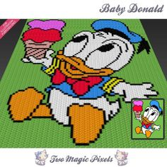 Baby Donald Disney inspired graph crochet by TwoMagicPixels Graph Crochet, C2c Crochet, Manta Crochet, Baby Blanket Crochet, Baby Afghans, Crochet Afghans, Donald Disney, Crochet Projects, Rugs