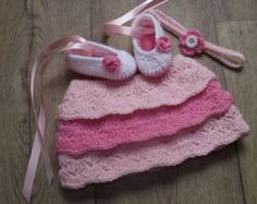 Ballerina Photo Prop or Gift set headband skirt tutu slippers NEWBORN CROCHET