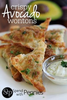 Crispy Avocado Wontons!  Delicious crispy wonton shells filled with a fresh avocado mixture!