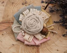 Natural Linen Brooch fabric textile beige white eco friendly brooch flower women pin brooch summer rose brooch bouquet boho chic jewelry by NostalgieDecor on Etsy