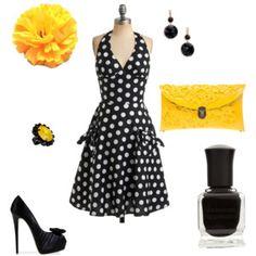 Black and white with a pop of yellow