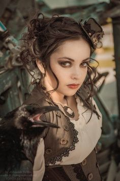 brown steampunk makeup