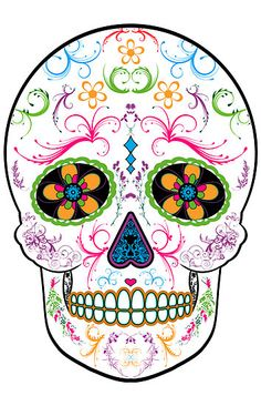 Love the colors in this sugar skull. It would be perfect on my thigh!