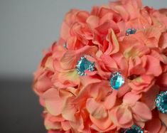 Coral and Teal Turquoise Hydrangea Brooch Button Bouquet Orange Blue Bouquet Summer or Beach Wedding