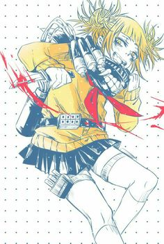 Toga Himiko, blood, knife, mask; My Hero Academia