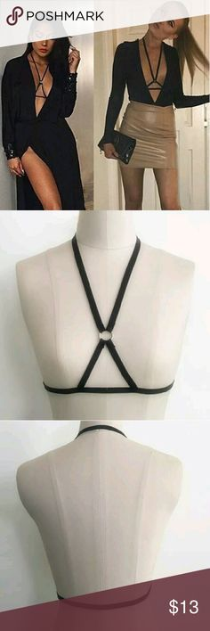 """*15% off 2*XS,S,M,L Black Elastic Cupless Bralette New in package- color: black & silver hardware XS- neck: 16"""" (around) waist: 26"""" Small- neck: 16.5"""" (around) waist: 28"""" Medium- neck: 17"""" (around)waist 30"""" Large - neck: 17.5"""" (around) waist: 32"""" Elastic stretch waist: up to 4"""" additional stretch to measurements boutique Intimates & Sleepwear Bras"""