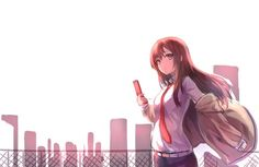 Anime picture 1000x650 with steins;gate makise kurisu hiten goane ryu long hair single looking at viewer brown hair simple background purple eyes girl shirt necktie white shirt phone mobile phone