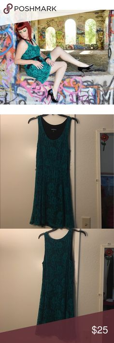 Lacy Green Express Dress Great for summer! Beautiful lacy green and black Express dress. Does not come with ribbon belt. Express Dresses Mini