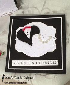 jpp - Braut & Bräutigam Hochzeits Papeterie in schwarz weiß / wedding stationary black & white / Mr. & Mrs. / bride & groom / Stampin' Up! Berlin / Stanze Herzblatt / Framelits Etikette-Kunst www.janinaspaperpotpourri.de